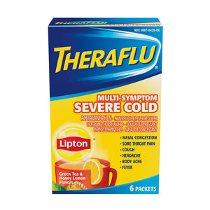 Theraflu Multi-Symptom Severe Cold with Lipton Green Tea & Honey Lemon Flavors, 6 Pack