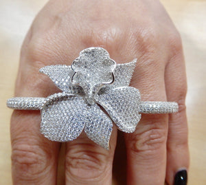Sterling Silver CZ Orchid Ring Rhodium Finish