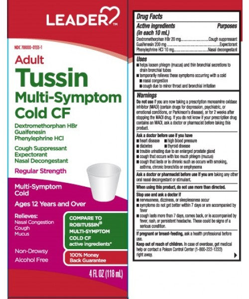 Leader Adult Tussin Multi-Symptom Cold CF Liquid, 4oz