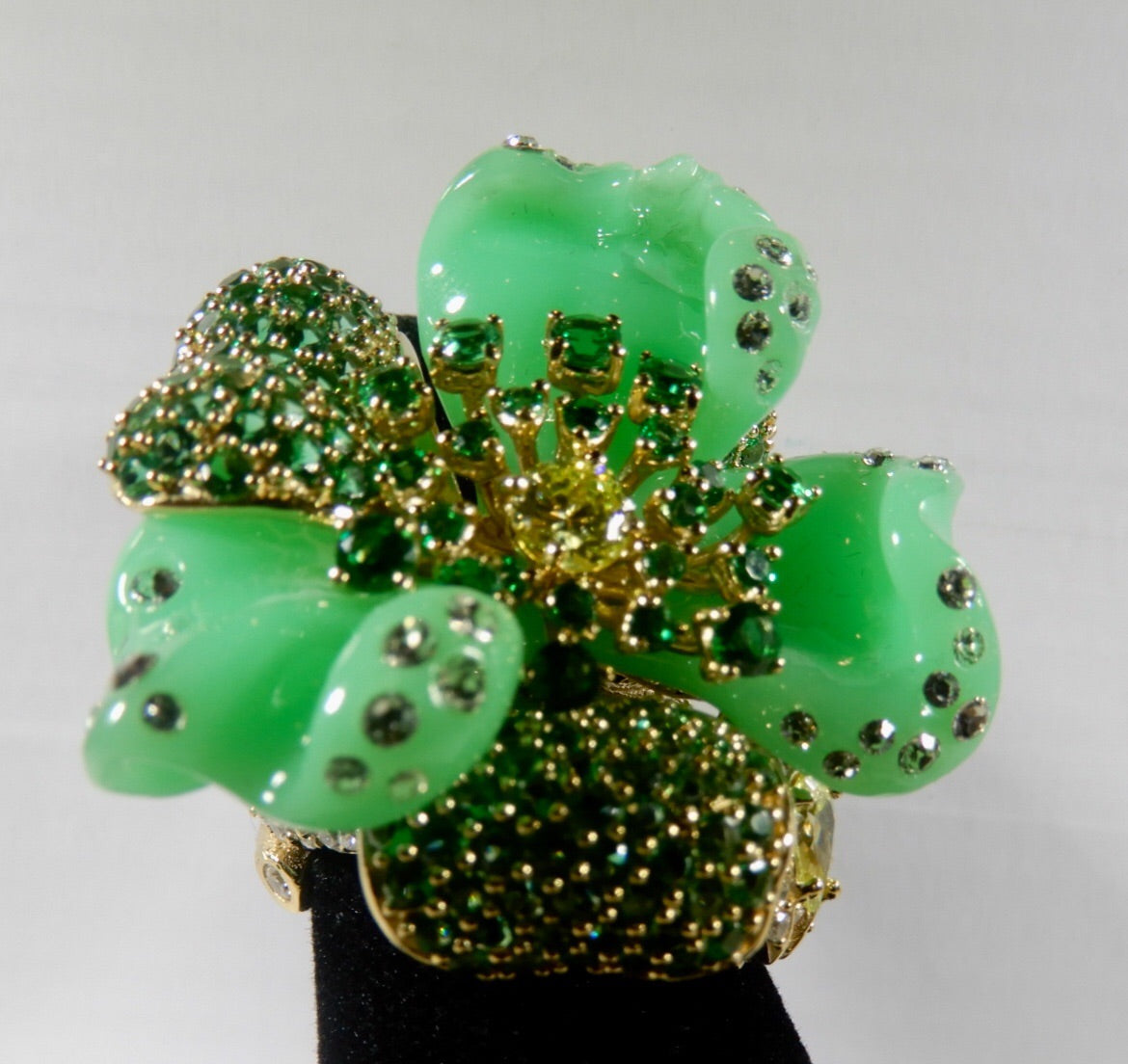 Flower Resin Green Ring