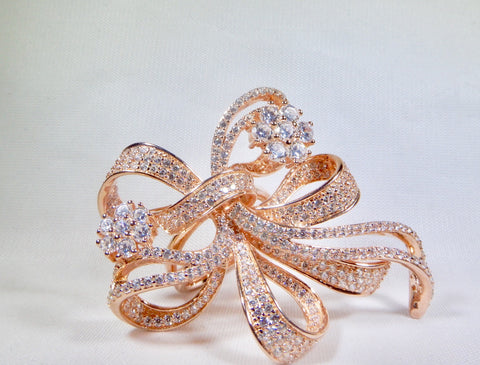 Ribbon-Bow Ring - Silver and rose gold plated