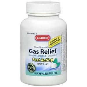 Leader Gas Relief Chewable Tablets, Mint, 100ct