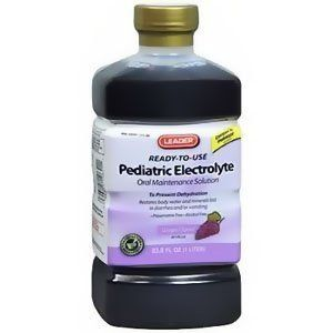 Leader Pediatric Electrolyte Grape Solution, 33.8 oz.