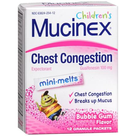 Mucinex Children's Chest Congestion Mini-Melts Bubble Gum Flavor, 12 Count