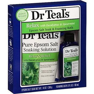 Dr Teal's Relax with Eucalyptus and Spearmint Epsom Salt Soak and Foaming Bath 2-Piece Travel Gift Set