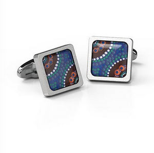 Cufflinks  Camping around waterholes Aboriginal design Square stainless steel - Allegria