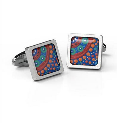 Cufflinks Picking Wildflowers Aboriginal design Square stainless steel - Allegria