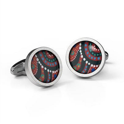 Swimming after Rain Cufflinks Aboriginal design Round stainless steel - Allegria