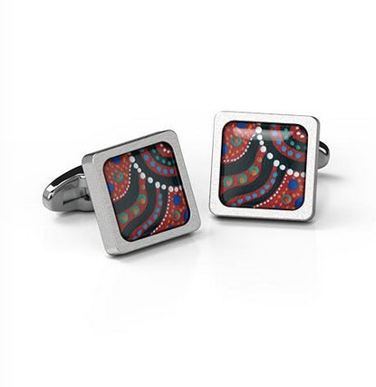 Cufflinks Swimming after Rain Aboriginal design Square stainless steel - Allegria Restock due 5th dec