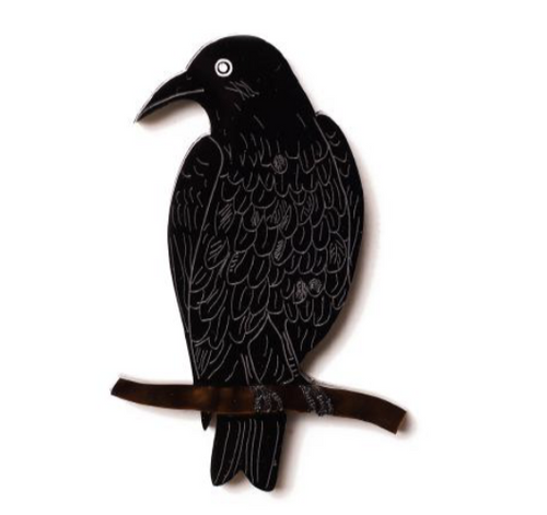 Australian Raven Brooch By Martini Slippers + rocklily gift earrings