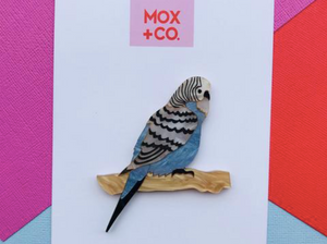 Budgie Blue  Brooch  by Mox + co