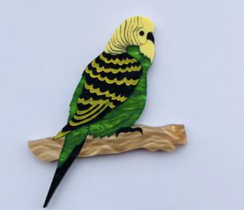 Budgie Green Brooch  by Mox + co