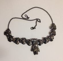 Load image into Gallery viewer, Bat Pewter Necklace  Dark Antique silver : Peek- a- Boo