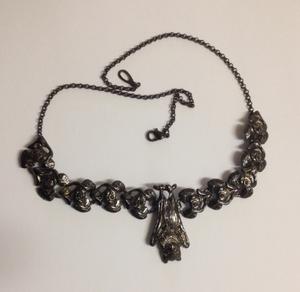 Bat Pewter Necklace  Dark Antique silver : Peek- a- Boo