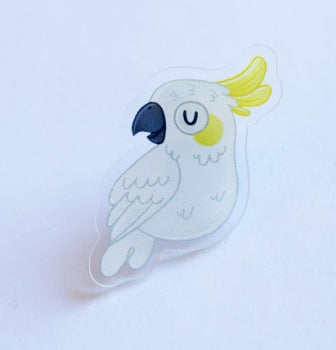 Cockatoo Illustrated Acrylic Lapel-Pin: for bags, Jackets or a Hat Pin