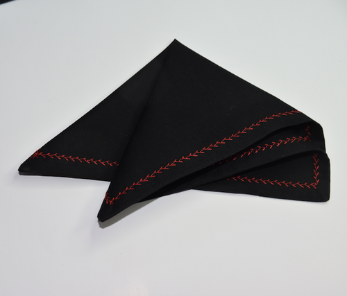 Pocket Chief Black Red contrast stitching   Unique Limited Edition By Rocklilywombats