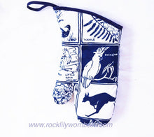 Load image into Gallery viewer, Blue Australiana oven mitt rocklilywombats