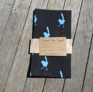 Blue Wren Print on black Linen Tea Towel