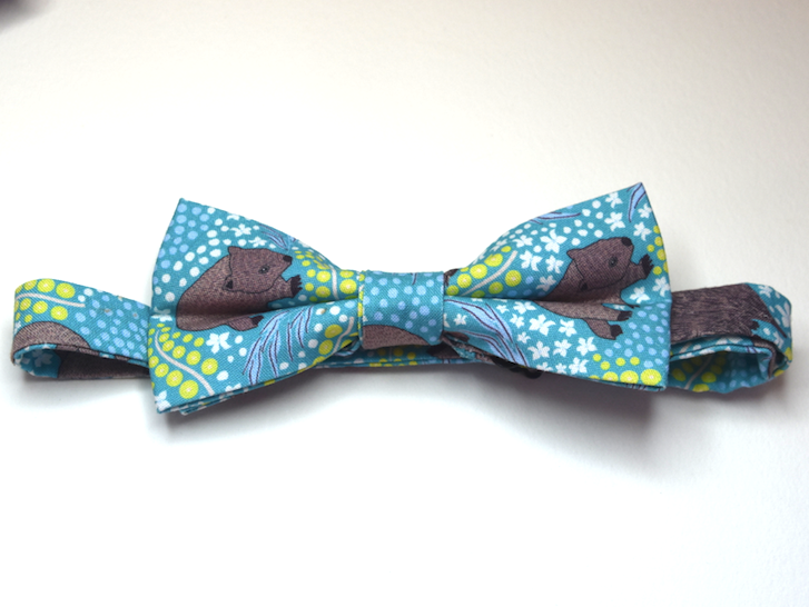 Bow Tie  Wombat Teal Unique Limited Edition By Rocklilywombats