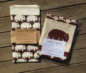 Wombat  Dark Burgandy Print Cotton Drill Apron + Burgundy on white linen tea towel