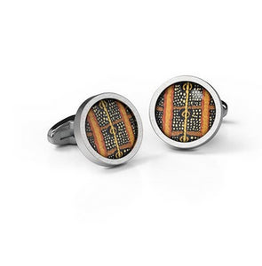 Cufflinks  Caterpiller Aboriginal design Round Stainless steel  - Allegria