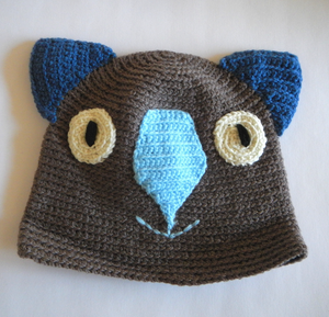 Drop bear, Wombat, Koala Hat 100% wool  Medium Adult: Chocolate navy