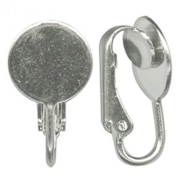 Clip earrings silver plated 10 mm pad Made in USA