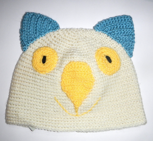 Drop bear, Wombat, Koala Hat  100% wool Large Adult: Cream teal