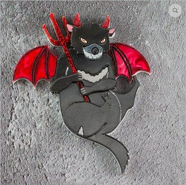 Devilish Tasmanian Devil Brooch/Necklace  by Gorydorky + gift Rocklily earrings.  Pre order Avail mid-late July