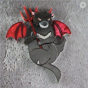 Devilish Tasmanian Devil Brooch  by Gory dorky + gift Rocklily earrings.