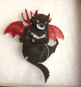 Devilish Tasmanian Devil Brooch/Necklace  by Gory dorky + gift Rocklily earrings. AvaIl late sept