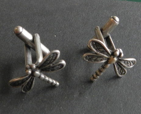 Dragon Fly Pewter Cufflinks Antique Silver Plated: Peek -a- Boo