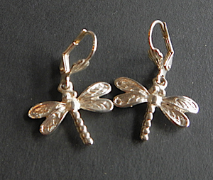 Dragon Fly Earrings Antique Silver  Plated: Peek-a-Boo