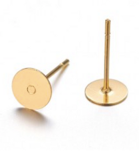 Copy of Earring stud Gold plated 6 mm pad 3 pairs