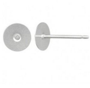 Earring stud Silver plated 10 mm pad 3 pairs