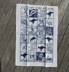 Fauna and Flora blue print Linen Tea Towel made in australia