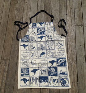 Fauna and Flora blue print Linen Tea Towel + Cotton drill Apron made in australia