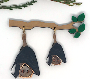 Flying Fox Brooch  by Mox + co  limited edition plus rocklily gift earrings.