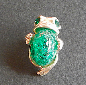 Prince Frog  Pewter Brooch Antique silver  : Peek- a- Boo  mid  Green
