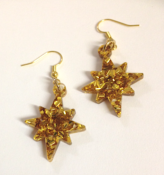 Golden Christmas star Dangles By Dianna of Rocklilywombats
