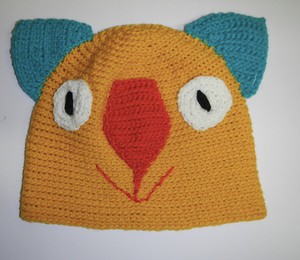 Drop bear, Wombat, Koala Hat  100% wool  X Small Adult:  Gold and teal