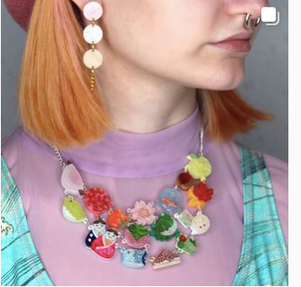 Wagashi Necklace   by Gory dorky + gift heart Rocklily earrings.