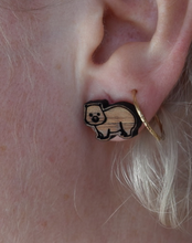 Load image into Gallery viewer, Heavenly wombats  gold wood  studs By Dianna