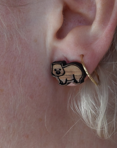 Heavenly wombats  gold wood  studs By Dianna