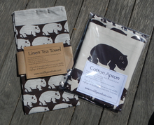 Load image into Gallery viewer, Wombat Brown print Cotton Drill, Pocket  Apron +  Natural Tea towel brown print  Set