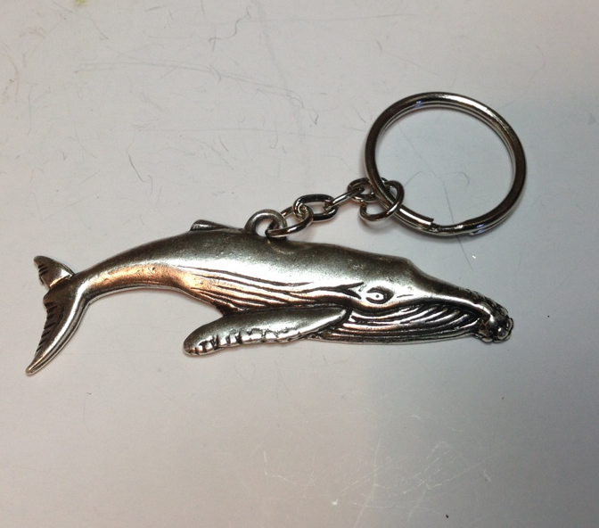 Whale Humpback Pewter Antique Silver Plated Key Ring: Peek-a-Boo