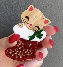 Load image into Gallery viewer, Joy the Christmas  Kitten  Brooch by Daisy Jean + Rocklily gift earrings
