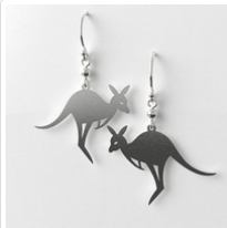 Kangaroo earrings allgreia rocklilywombats
