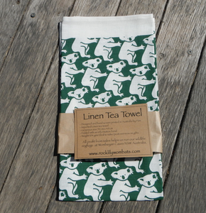 Koala Green Print on white Linen Tea Towel Made in Australia