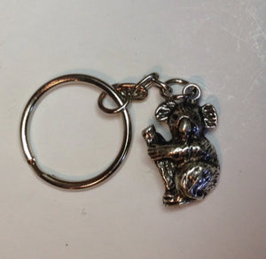 Koala  Key Ring Pewter  Antique Silver Plated: Peek-a-Boo